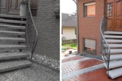 Vorher und Nachher einer Hauseingangstreppe