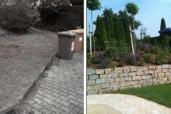 Vorher und Nachher einer Trockenmauer