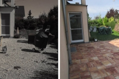 Vorher und Nachher einer mediterranen Terrassengestaltung