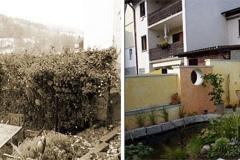 Vorher und Nachher einer Terrassenneugestaltung