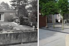 Vorher und Nachher einer Terrasse mit Natursteinplatten
