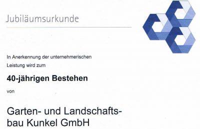 IHK Urkunde 40 Jahre Kunkel Garten, Otzberg (Ausschnitt)