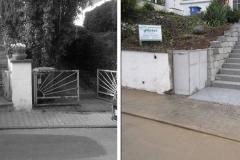 Vorher und Nachher einer Treppe zum Hauseingang