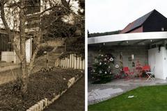 Vorher und Nachher einer Garten-Bar mit Grill