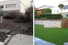 Vorher und Nachher eines Gartens mit 2 Ebenen