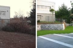 Vorher und Nachher einer Umgestaltung eines Hangs mit Rasen