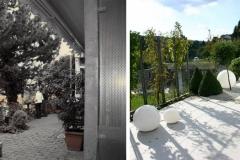 Vorher und Nachher einer Schattenterrasse